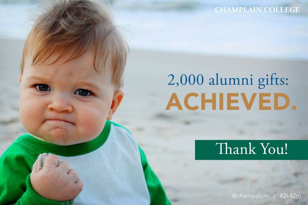 Champlain College Reaches 2000 Alumni Gifts