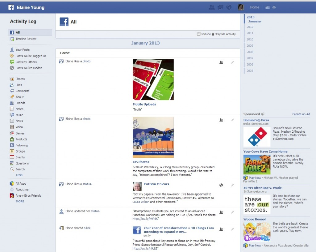 how to get to activity log on facebook